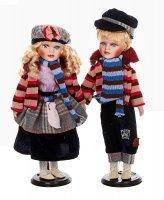 Кукла коллекционная парочка в драповых костюмах в наборе 2 шт