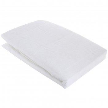 Наматрасник стёганый на резинке 160х200 см, белый, хлопок 100%
