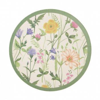 Блюдо сервировочное луговые цветы d=20см. h=1,5см. (бамбуковое