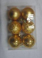"""Набор ёлочных игрушек """"шары"""" из 12шт. 30мм, золото"""
