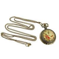 Карманные кварцевые часы «бабочка и розы», на цепочке 80 см