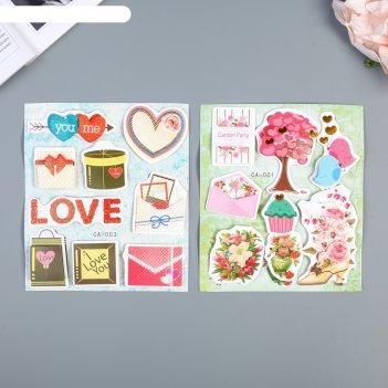 Наклейка картон 2 слоя любовь микс 19х12,5 см