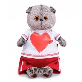 Мягкая игрушка басик в футболке с сердцем, 25 см ks25-139