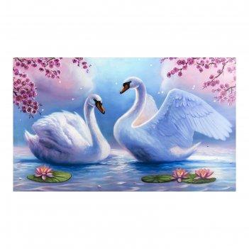 Картина на холсте лебеди на пруду 60*100 см
