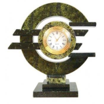 Настольные часы евро, камень змеевик