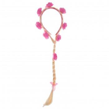 Карнавальный ободок коса с розовыми цветочками