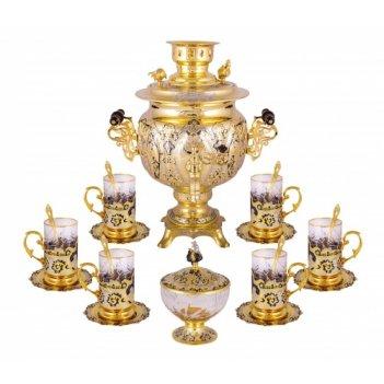 Набор чайный репка (самовар, 6 подстаканников, 6 тарелок)