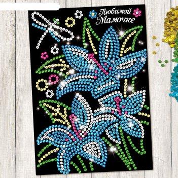 Аппликация пайетками лилии с клеевым слоем + 6 цветов пайеток