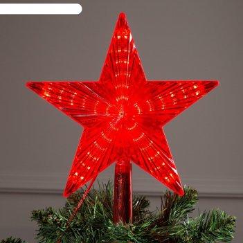 Фигура звезда красная ёлочная 22х22 см, пластик, 30 led, 240v красный