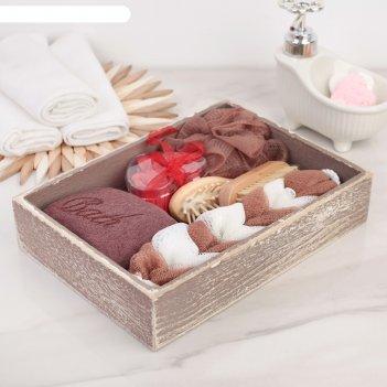 Набор банный 6 предм. (расческа, щётка, 3 мочалки, мыло), цвет микс