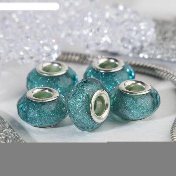 Бусина гранёная льдинка с блёстками, цвет бирюзовый в серебре