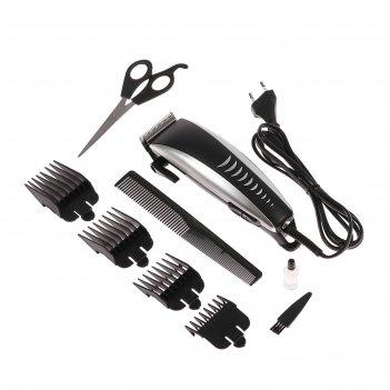 Машинка для стрижки волос luazon lst-08, 15 вт, 4 насадки, серебристо-чёрн