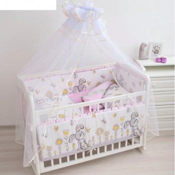 Комплект в кроватку «зайка на полянке», 7 предметов, розовый, бязь