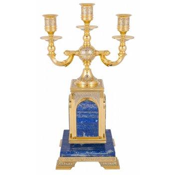 Подсвечник лазурит трехрожковый  златоуст