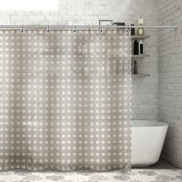 Штора для ванной 180x180 см кружочки, полиэстер, цвет коричневый
