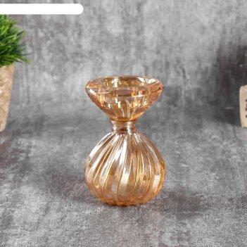 Подсвечник стекло на 1 свечу зефир микс 10х6х6 см
