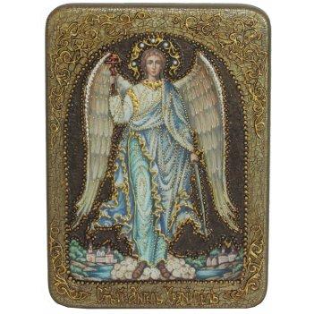 Подарочная икона ангел хранитель на мореном дубе