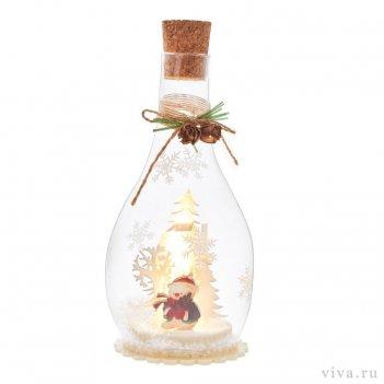 Композиция с подсветкой  в бутыле 3