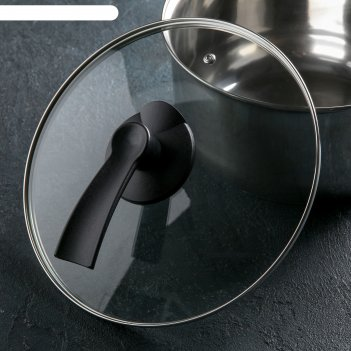Крышка стеклянная d=26 см lux, ручка микс