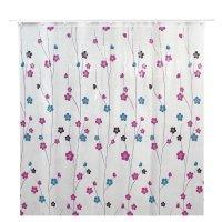 Штора для ванной 180x180 см цветы розовые, пвх, прозрачная