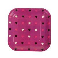 Набор бумажных тарелок цветные сердечки фуксия, (6 шт), 18 см