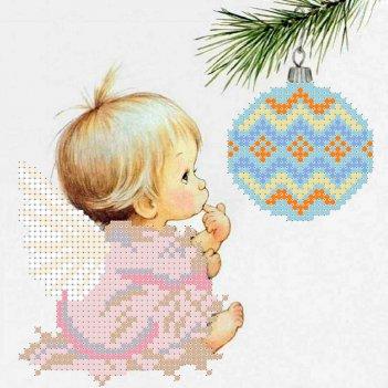 Рисунок для вышивания бисером ангел с елочной игрушкой