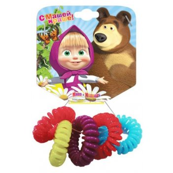 Набор резинок для волос пружинки 6 шт. маша и медведь