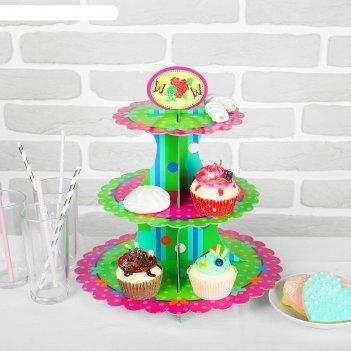 Подставка для пирожных трехъярусная бантики
