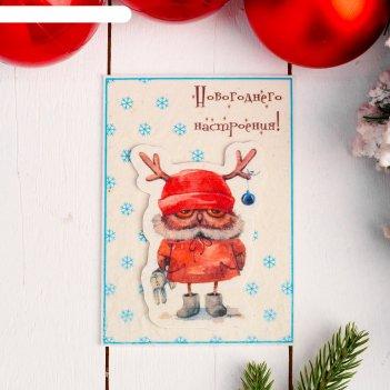 Открытка «новогоднего настроения», совушка 10,5x14,8 см, войлок