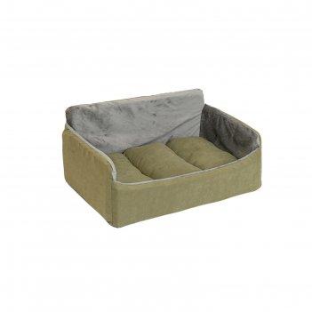 Лежак-диван бархатный самсон, 62 х 45 х 28 см, милитари