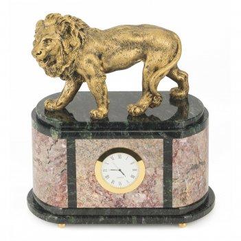 Часы лев креноид змеевик мрамолит 255х135х290 мм 7100 гр.
