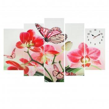 Часы настенные модульные «орхидеи и бабочка», 80 x 140 см