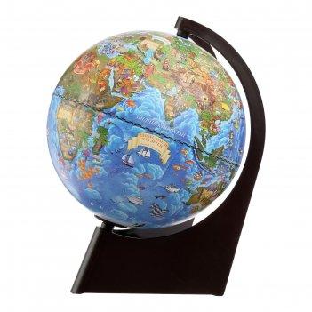 Глобус земли зоогеографический, диаметр 210 мм, с подсветкой, треугольная
