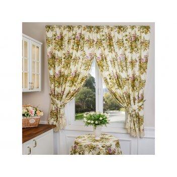 Комплект штор кухонных из 2х шт 150х180см флора ,100% хлопок, шампань