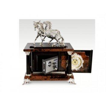 Часы-сейф лошади из обсидиана (арт.с-025)
