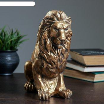 Копилка лев сидя малый, бронза 26см