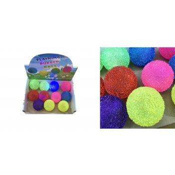 1toy мячик-прыгун пвх 6,5 см,  снежок, прозрачн, со светом, цвета в асс.