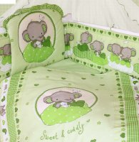 Комплект в кроватку слоник боня(120х60), 7 предметов: бампер,балдахин,одея
