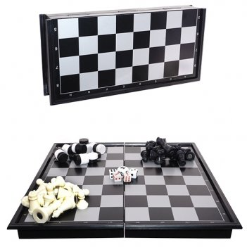 Набор настольных игр 3 в 1 (шахматы, шашки, нарды) с магнитн...