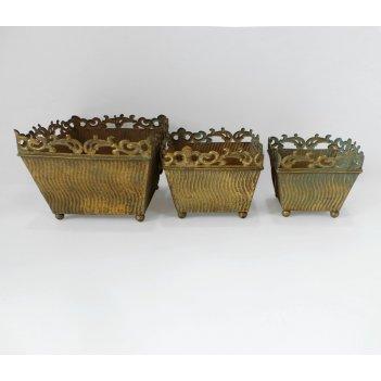 Кашпо напольное, набор из 3-х,  для цветов   золотая патина