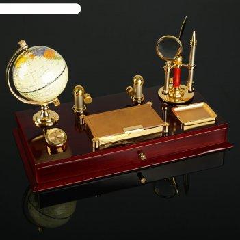 Набор настольный 7в1 (блок для бумаг, часы, визитница, скрепочница, глобус