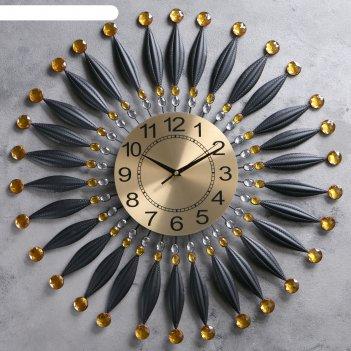 Часы настенные, серия: ажур, сферы, черные лепестки, циферблат под золото,